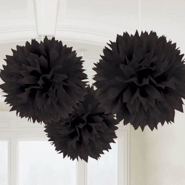 Black Fluffy Pom Pom Decorations (3)